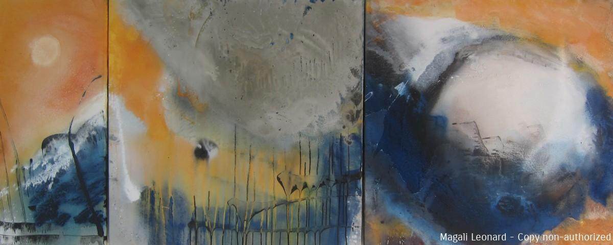 Crossing 2.J2013, Acrylique sur toile, 3 panneaux, 38 X 80 et 80 X 80 cm and 14,96 X 31,49 inches31,49 X 31,49 PG