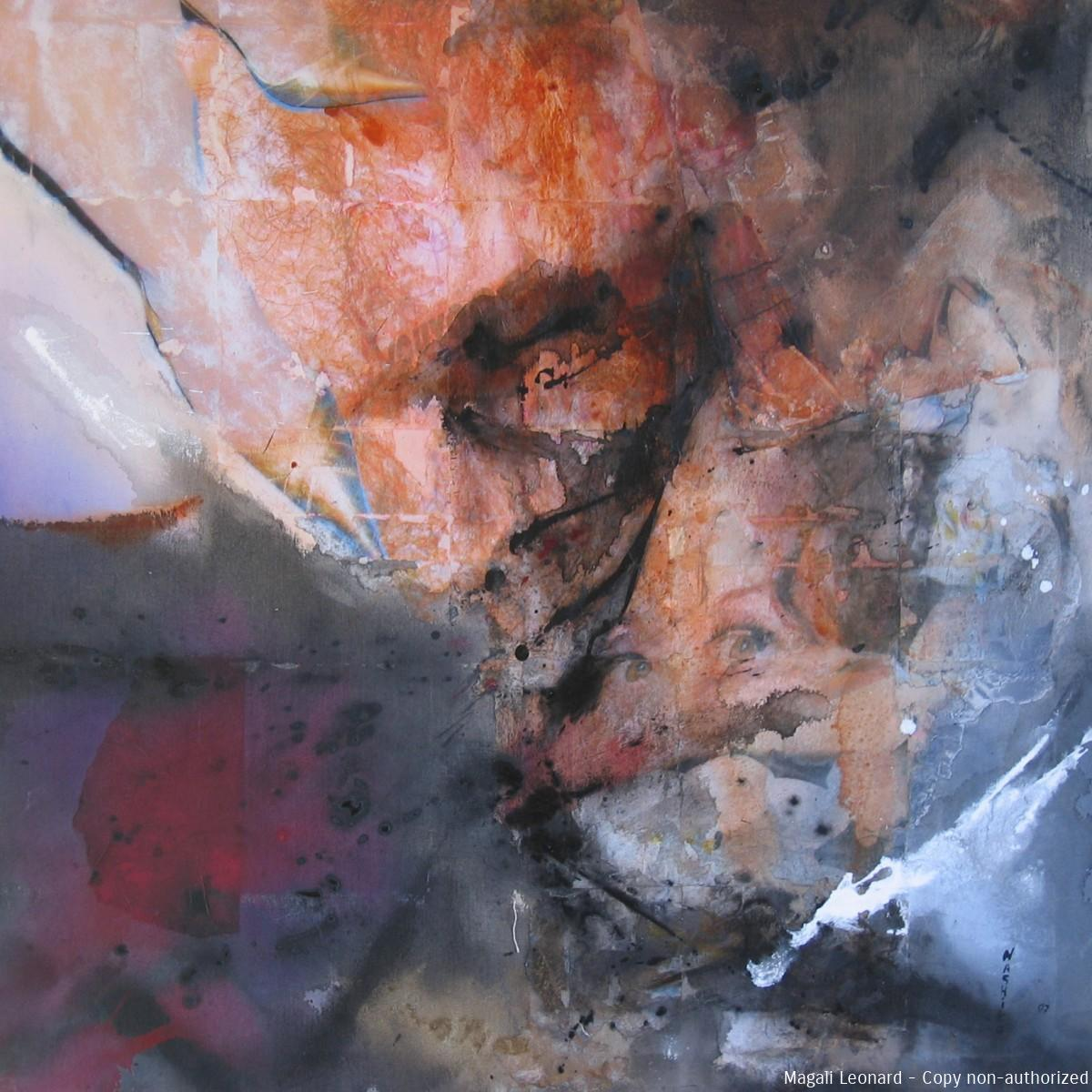 Spatiale, 2007, Mixed media on canvas, 39, 37 X 39, 37 inches, 100 X 100 cm copie