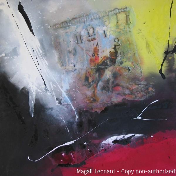 De l'espace et du temps 2007, Mixed media on canvas, 39,37 X 39,37 inches , 100 X 100 cm copie