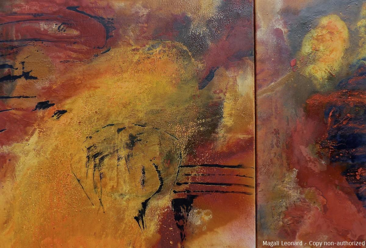 Crossing 6, Traversée 6, Acrylic on canvas, 2 panels 80 X 80 cm , 35 X 80 cm 34